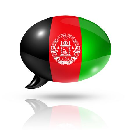 afghan flag: three dimensional Afghanistan flag in a speech bubble isolated on white with clipping path