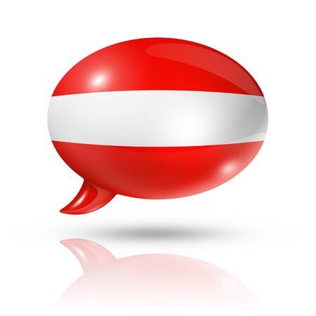 austrian flag: three dimensional Austria flag in a speech bubble isolated on white with clipping path