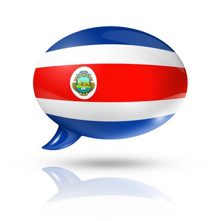 costa rica flag: three dimensional Costa Rica flag in a speech bubble isolated on white with clipping path Stock Photo