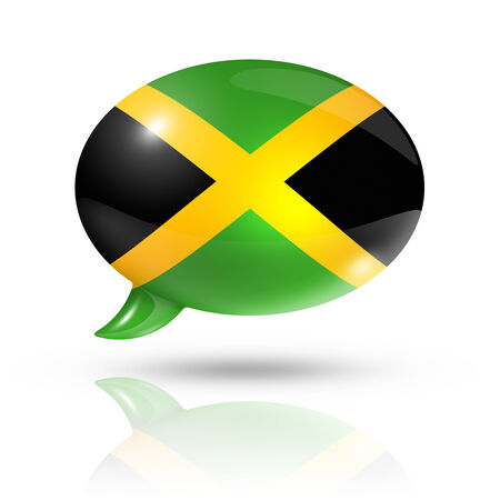 jamaican flag: three dimensional Jamaica flag in a speech bubble isolated on white with clipping path