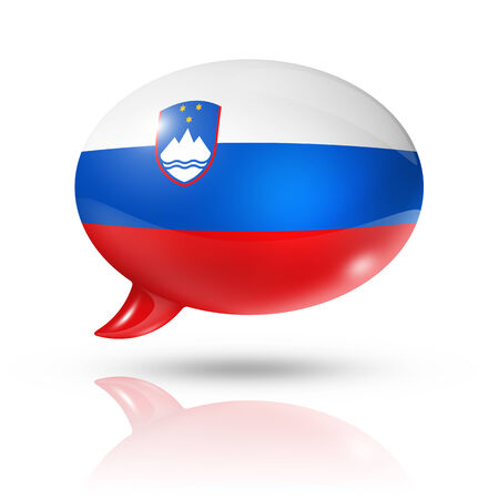 slovenia: three dimensional Slovenia flag in a speech bubble isolated on white with clipping path