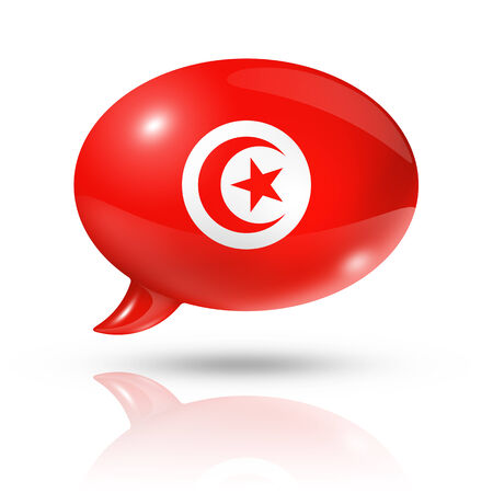 three dimensional: three dimensional Tunisia flag in a speech bubble isolated on white with clipping path Stock Photo