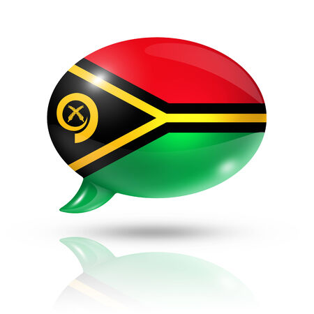 translating: three dimensional Vanuatu flag in a speech bubble isolated on white with clipping path Stock Photo