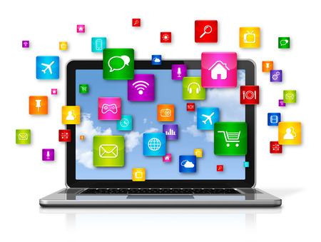 3d icons: 3D Laptop Computer with flying apps icons - isolated on white Stock Photo