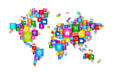 social web: World Map Flying Desktop Icons collection. Cloud Computing concept Stock Photo