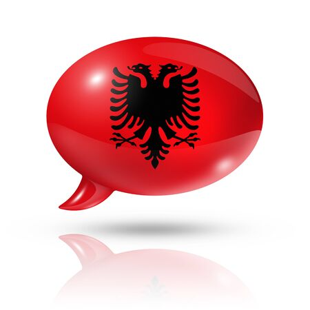 translating: three dimensional Albania flag in a speech bubble isolated on white with clipping path