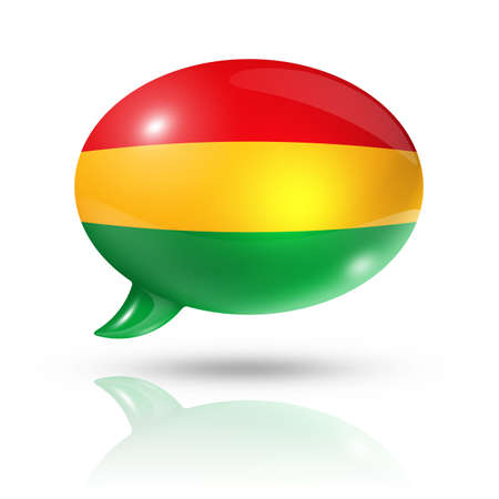 bandera de bolivia: tres dimensiones bandera de Bolivia en una burbuja de discurso aislado en blanco con trazado de recorte Foto de archivo