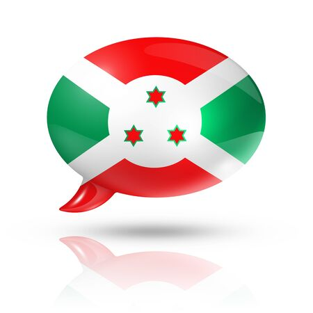 three dimensional: three dimensional Burundi flag in a speech bubble isolated on white with clipping path