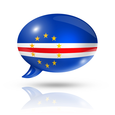 three dimensional: three dimensional Cape Verde flag in a speech bubble isolated on white with clipping path Stock Photo