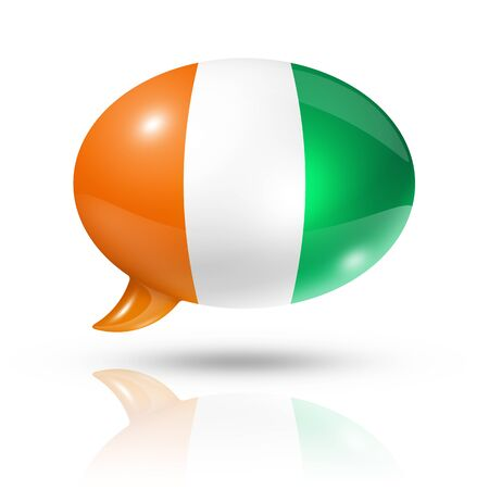 three dimensional: three dimensional  Ivory Coast flag in a speech bubble isolated on white with clipping path Stock Photo