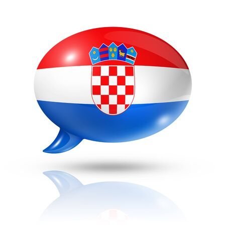 croatia flag: three dimensional Croatia flag in a speech bubble isolated on white with clipping path Stock Photo