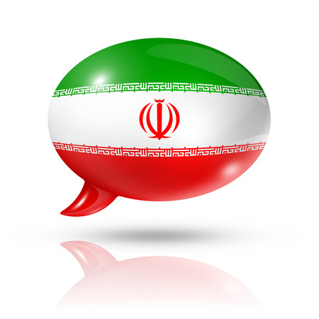 three dimensional: three dimensional Iran flag in a speech bubble isolated on white with clipping path