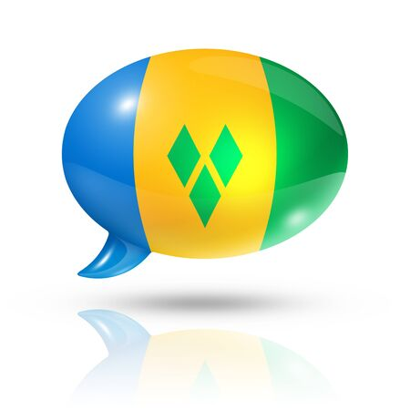 translating: three dimensional Saint Vincent and the Grenadines flag in a speech bubble isolated on white with clipping path