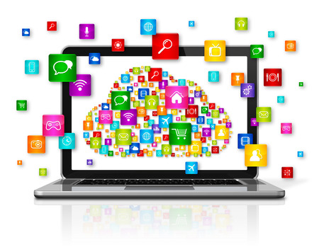 3d icons: 3D Laptop Computer isolated on white. Cloud Computing concept Stock Photo