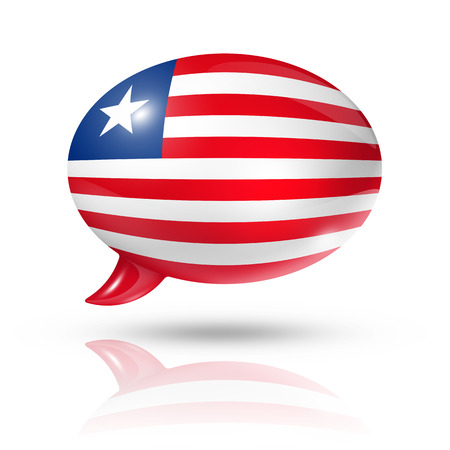 converse: three dimensional Liberia flag in a speech bubble isolated on white with clipping path