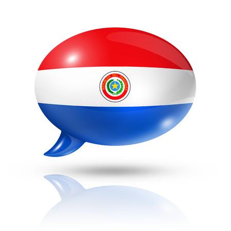 bandera de paraguay: tres dimensiones bandera de Paraguay en una burbuja de discurso aislado en blanco con trazado de recorte