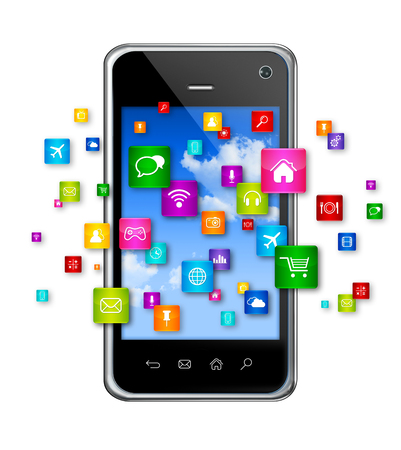 3D Mobile Phone with flying apps icons - isolated on white photo