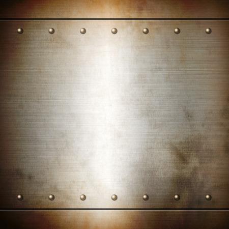 oxidado: Acero oxidado remachada cepillado textura de fondo de placa. Fondo del marco del metal
