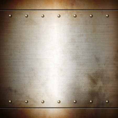 brushed: Rusty steel riveted brushed plate background texture. Metal frame background