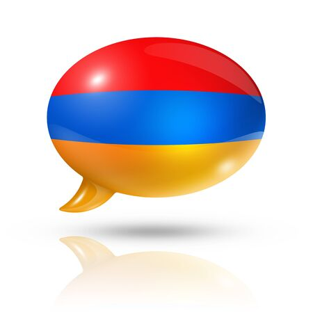 translating: three dimensional Armenia flag in a speech bubble isolated on white with clipping path