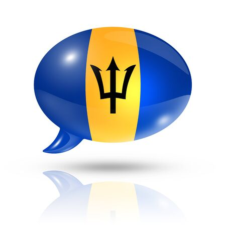 translating: three dimensional Barbados flag in a speech bubble isolated on white with clipping path
