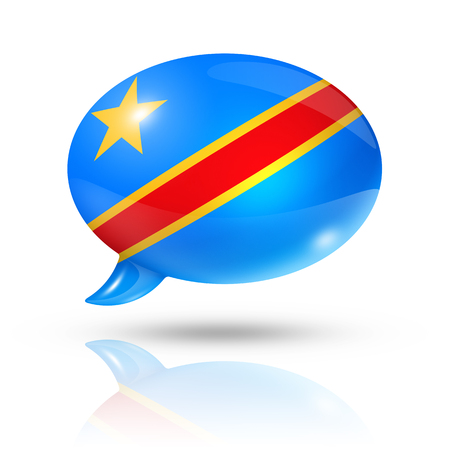 zaire: three dimensional Democratic Republic of the Congo flag in a speech bubble isolated on white with clipping path