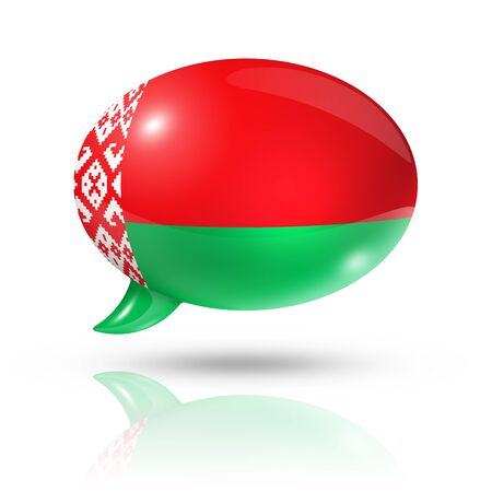 three dimensional: three dimensional Belarus flag in a speech bubble isolated on white with clipping path