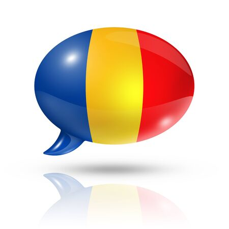 chad flag: three dimensional Chad flag in a speech bubble isolated on white with clipping path Stock Photo