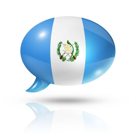 guatemalan: three dimensional Guatemala flag in a speech bubble isolated on white with clipping path