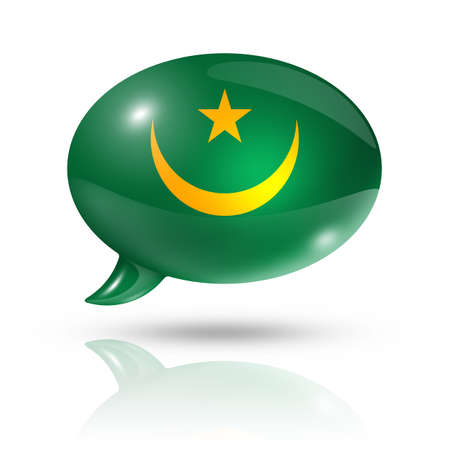 mauritania: three dimensional Mauritania flag in a speech bubble isolated on white with clipping path