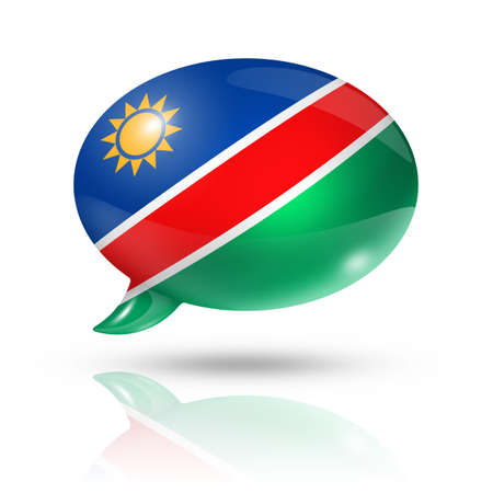 three dimensional: three dimensional Namibia flag in a speech bubble isolated on white with clipping path