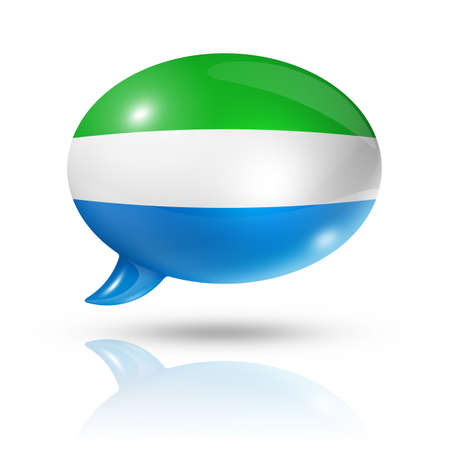 three dimensional: three dimensional Sierra Leone flag in a speech bubble isolated on white with clipping path