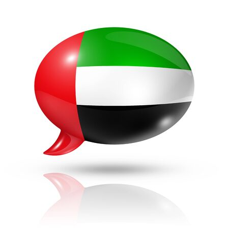 emirates: three dimensional United Arab Emirates flag in a speech bubble isolated on white with clipping path