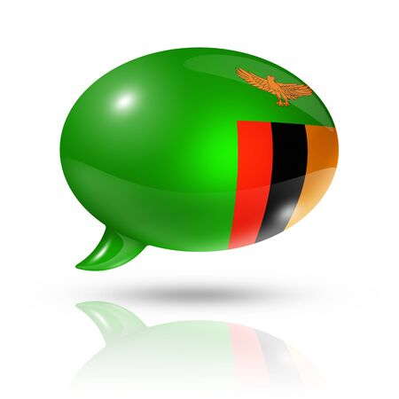 zambian: three dimensional Zambia flag in a speech bubble isolated on white with clipping path Stock Photo