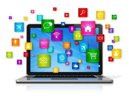 apps icon: 3D Laptop Computer with flying apps icons - isolated on white Stock Photo
