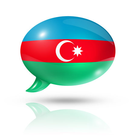 converse: three dimensional Azerbaijan flag in a speech bubble isolated on white with clipping path