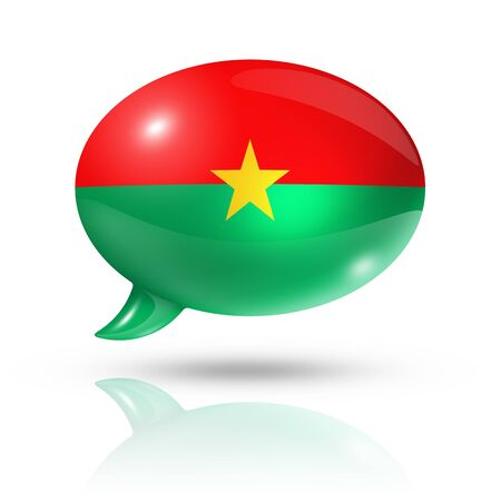 three dimensional: three dimensional Burkina Faso flag in a speech bubble isolated on white with clipping path