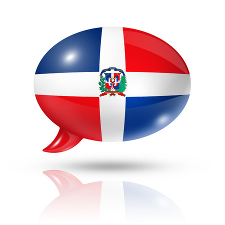 three dimensional: three dimensional Dominican Republic flag in a speech bubble isolated on white with clipping path