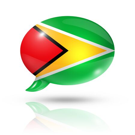 guyanese: three dimensional Guyana flag in a speech bubble isolated on white with clipping path Stock Photo