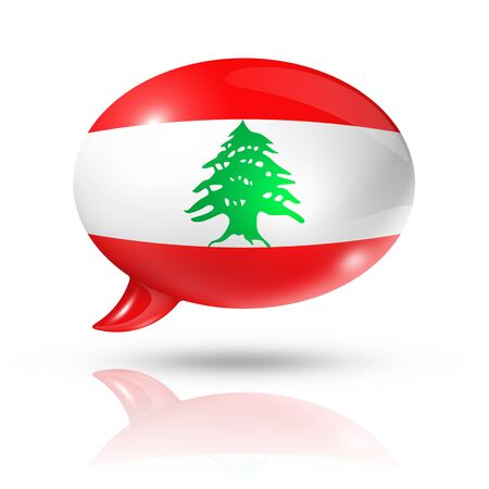 lebanese: three dimensional Lebanon flag in a speech bubble isolated on white with clipping path