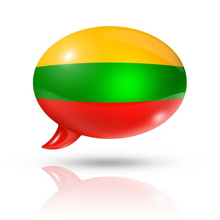 converse: three dimensional Lithuania flag in a speech bubble isolated on white with clipping path