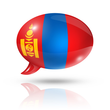 three dimensional Mongolia flag in a speech bubble isolated on white with clipping path photo