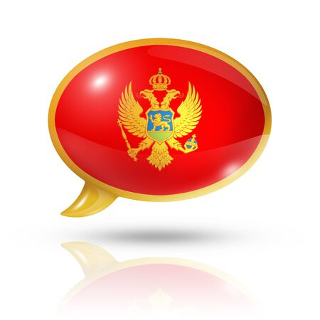 three dimensional: three dimensional Montenegro flag in a speech bubble isolated on white with clipping path