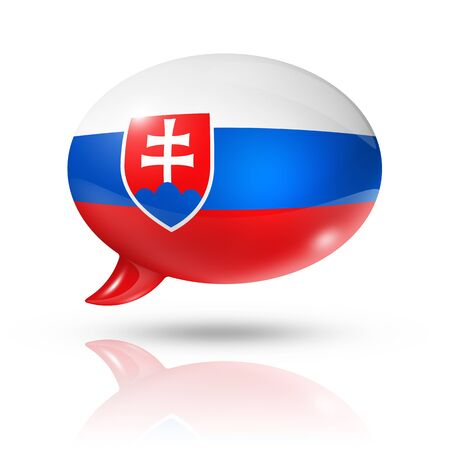 slovakia flag: three dimensional Slovakia flag in a speech bubble isolated on white with clipping path