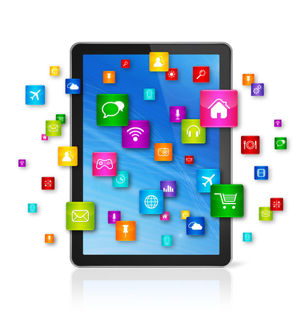 digital tablet: 3D Digital Tablet pc with flying apps icons - isolated on white