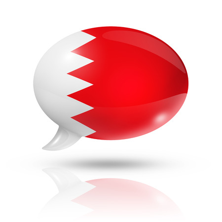 translating: three dimensional Bahrain flag in a speech bubble isolated on white with clipping path