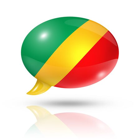 converse: three dimensional Republic of the Congo flag in a speech bubble isolated on white with clipping path