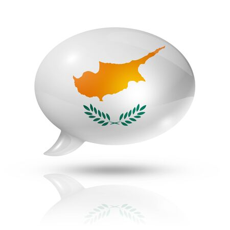 three dimensional: three dimensional Cyprus flag in a speech bubble isolated on white with clipping path Stock Photo