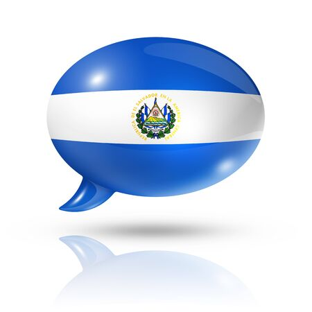 el salvador flag: three dimensional El Salvador flag in a speech bubble isolated on white with clipping path