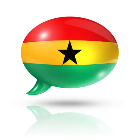 converse: three dimensional Ghana flag in a speech bubble isolated on white with clipping path Stock Photo